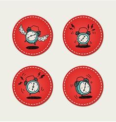 Alarm clock stickers vector image vector image