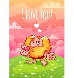 Cute valentine red dwarf blows a kiss vector