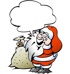 Hand-drawn of an Happy Santa with a sack vector image