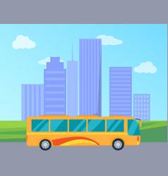 public bus in city colorful vector image vector image