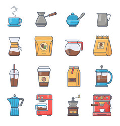 set of coffee elements and coffee vector image