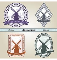 Vintage stamp Amsterdam vector image