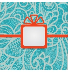 Gift with floral blue vector image