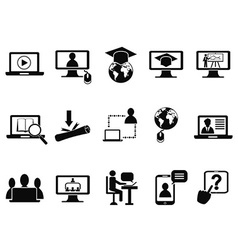 online class icons set vector image