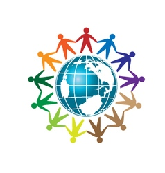 People unity and globe logo vector