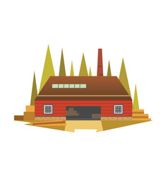 Sawmill building factory cartoon vector
