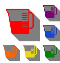 beaker sign set of red orange yellow green vector image