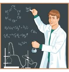 Chemist at blackboard vector image vector image