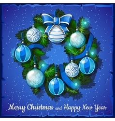 Christmas wreath with blue and white balls vector image vector image