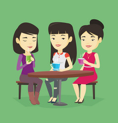 group of women drinking hot and alcoholic drinks vector image vector image