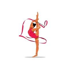 Gymnastics with ribbon sign vector image