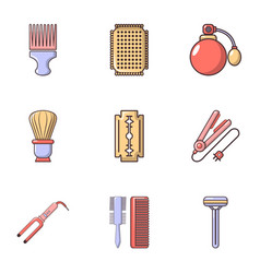 hairdressing icons set flat style vector image vector image