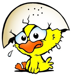 Hand-drawn of an cute unhappy baby chicken vector image