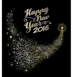 Happy New Year 2016 card night firework gold vector image vector image