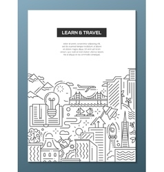 Learn and travel composition - line flat design vector image vector image