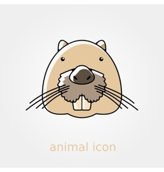 Otter beaver flat icon Animal head vector image vector image