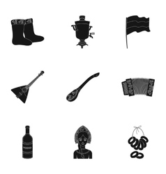 Russia country set icons in black style Big vector image vector image