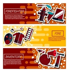 Set of Horizontal Banners about firefighter vector image vector image