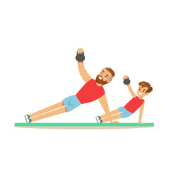 Smiling man and boy training with kettlebell dad vector