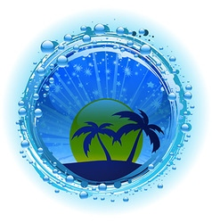 Water bubble border with evening sky and palm vector image vector image