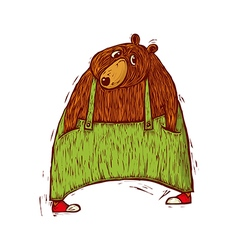 bear in green trousers vector image
