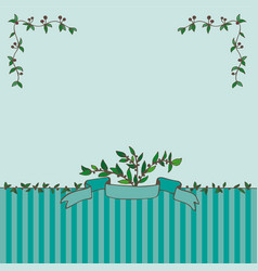 card with ribbon and branches vector image vector image
