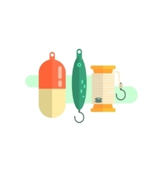 Fishing Related Objects Set vector image