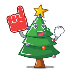 Foam finger christmas tree character cartoon vector