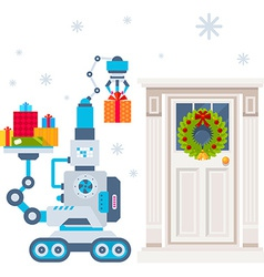 machine that puts present under the d vector image vector image
