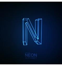 Neon 3D letter N vector image vector image