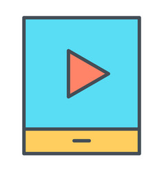 tablet with play button thin line icon pictogram vector image vector image