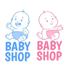 Two baby shop logo Isolated on a white background vector image vector image