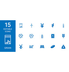15 grain icons vector image
