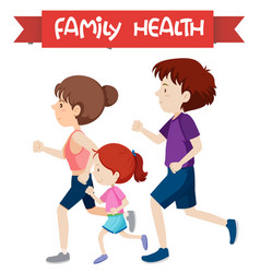 A healthy family jogging vector