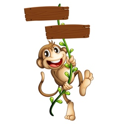 A monkey holding the two wooden signboards vector image