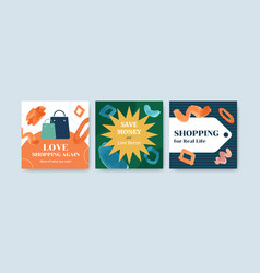 advertise template with shopping design vector image