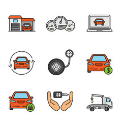 Auto workshop color icons set vector