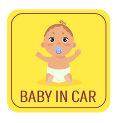 Baby in car safety car sticker sign boy on board vector