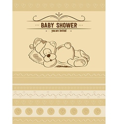 Baby shower card with retro toy vector
