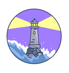 Banner depicting lighthouse during night storm vector