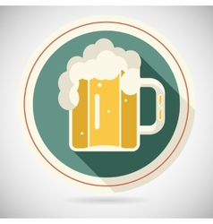 Beer mug with foam retro symbol alcohol icon long vector