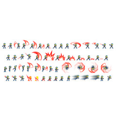 blue robot attack game sprites vector image