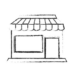 blurred silhouette cartoon facade shop store vector image