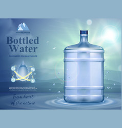 Bottled water advertising composition vector
