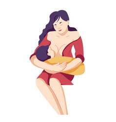 Breastfeeding mother feeding baby with breast vector