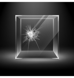 Broken glass box cube isolated on black background vector