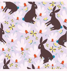 Brown bunnies and pink whimsical flowers seamless vector