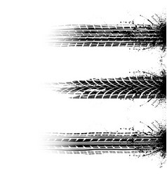 Brushed grunge tire tracks set vector