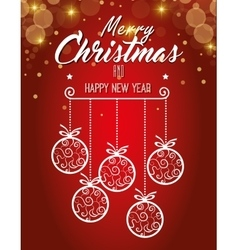 card ball merry christmas design isolated vector image