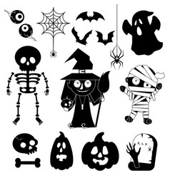 cartoon charachters for halloween vector image